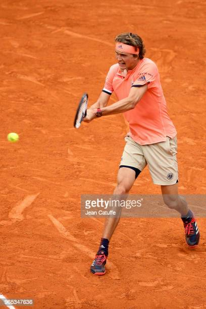 Alexander Zverev of Germany during Day Six of the 2018 French Open at Roland Garros on June 1 2018 in Paris France