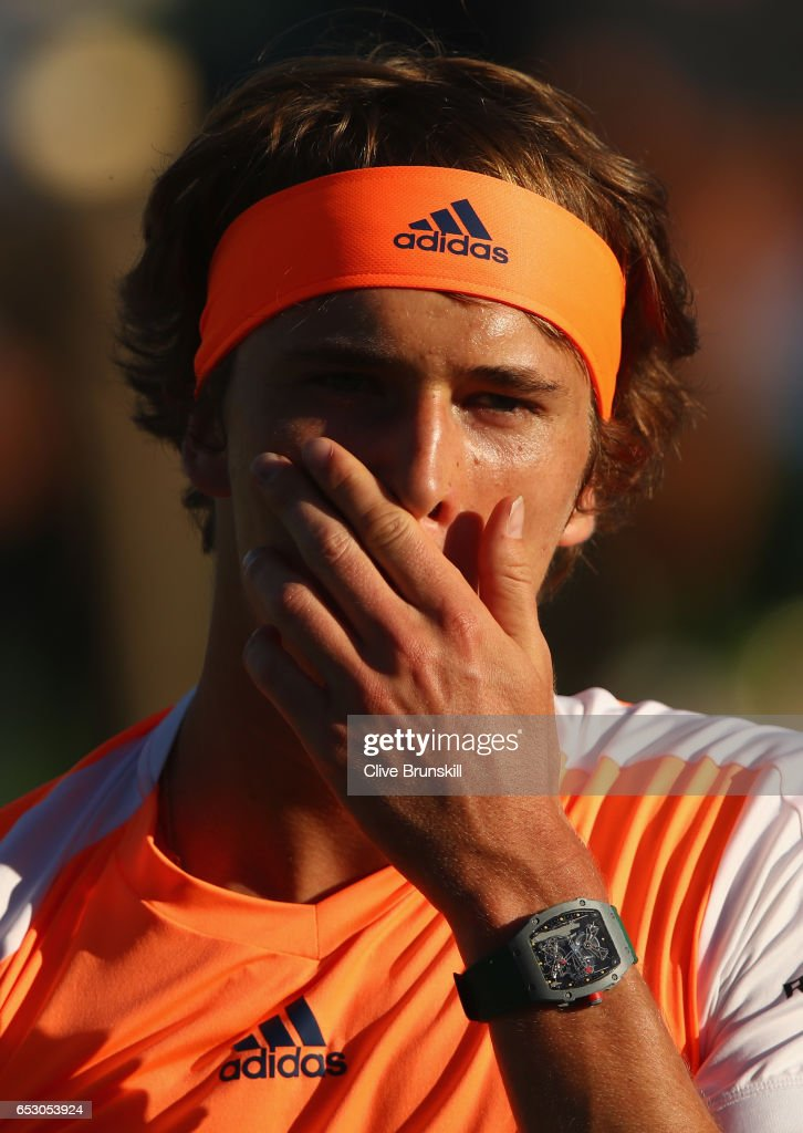 Alexander Zverev of Germany during his doubles match with brother Mischa Zverev against Henri Kontinen of Finland and John Peers of Australia during day eight of the BNP Paribas Open at Indian Wells Tennis Garden on March 13, 2017 in Indian Wells, California.