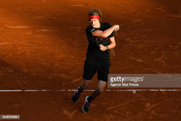 Alexander Zverev of Germany during the Monte Carlo Rolex Masters 1000 at Monte Carlo on April 17 2018 in Monaco Monaco