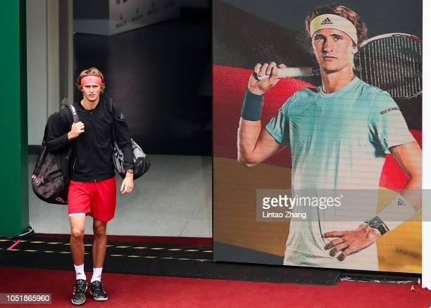 Alexander Zverev of Germany enters the tennis court before during third round of the 2018 Rolex Shanghai Masters match against Alex De Minaur of...