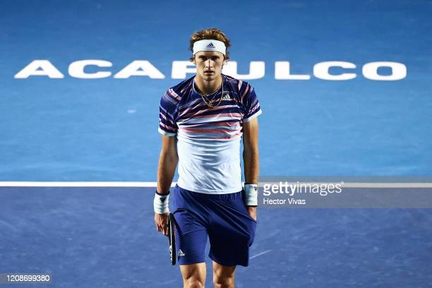 Alexander Zverev of Germany gestures during the singles match between Jason Jung of China Taipei and Alexander Zverev of Germany as part of the ATP...