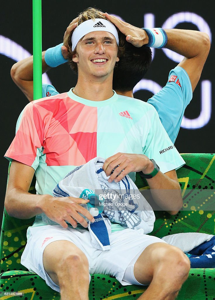 Alexander Zverev Of Germany Gets His Head Massaged By Novak Djokovic News Photo Getty Images