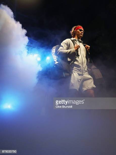 Alexander Zverev of Germany gets ready to walk out on court for his third round robin match against Jack Sock of the United States during the Nitto...