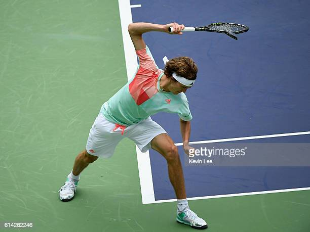 Alexander Zverev of Germany hit the ground with his racket during the Men's singles third round match against JoWilfried Tsonga of France on day five...