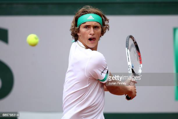 Alexander Zverev of Germany hits a backhand during the first round match against Fernando Verdasco of Spain on day two of the 2017 French Open at...