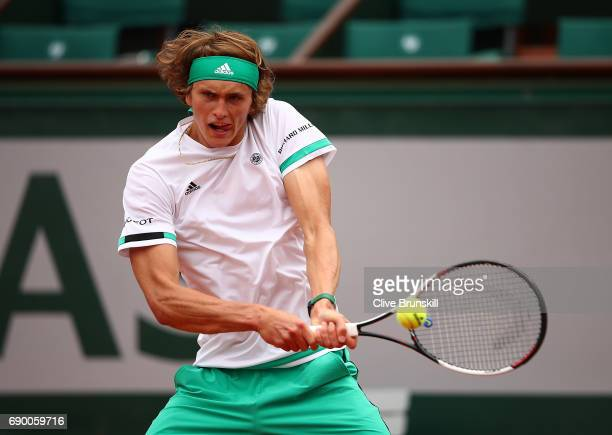 Alexander Zverev of Germany hits a backhand during the first round match against Fernando Verdasco of spain on day three of the 2017 French Open at...