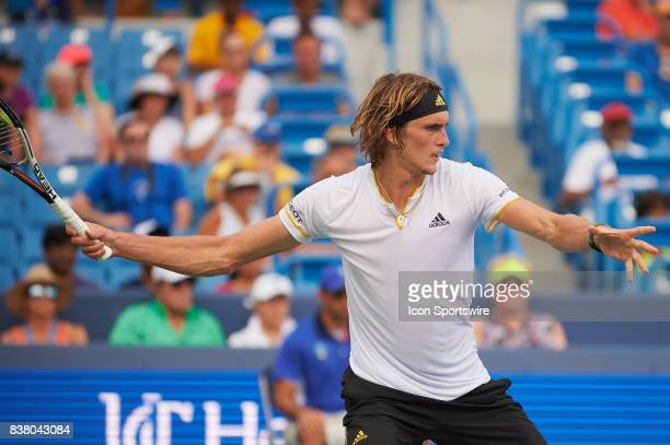 Alexander Zverev of Germany hits a forehand during a match in the Western & Southern Open on August 16, 2017 at the Lindner Family Tennis Center in...