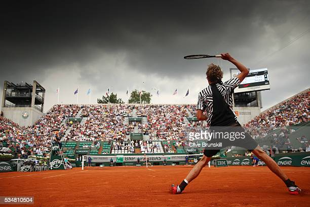 Alexander Zverev of Germany hits a forehand during the Men's Singles third round match against Dominic Thiem of Austria on day seven of the 2016...