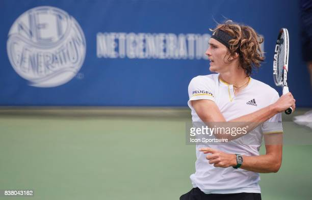 Alexander Zverev of Germany hits a forehand during their match in the Western & Southern Open on August 16, 2017 at the Lindner Family Tennis Center...