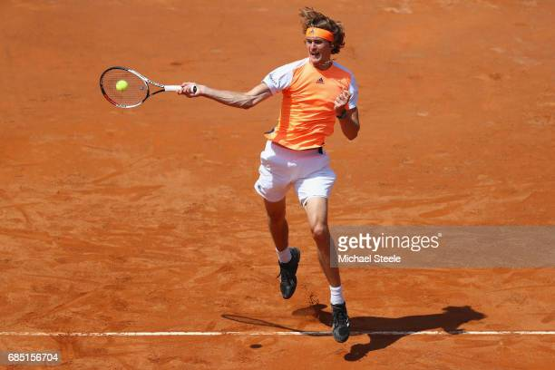Alexander Zverev of Germany hits a forehand return during his quarter final match against Milos Raonic of Canada on Day Six of the Internazionali BNL...