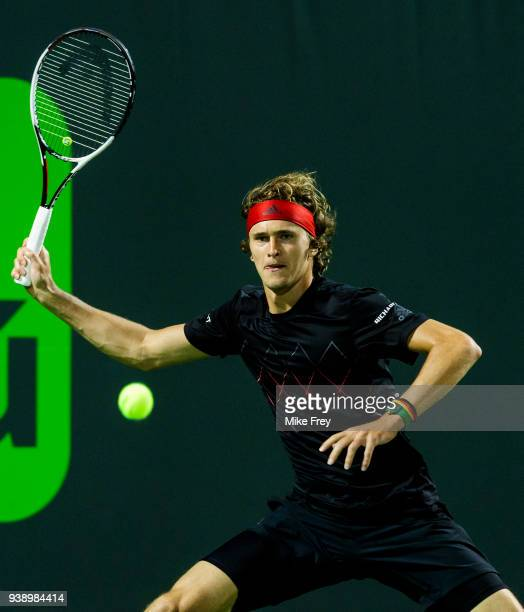 Alexander Zverev of Germany hits a forehand to Nick Kyrgios of Australia during Day 9 of the Miami Open Presented by Itau at Crandon Park Tennis...