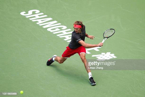 Alexander Zverev of Germany hits a return against Alex De Minaur of Australia during they third round of the 2018 Rolex Shanghai Masters on Day 5 at...