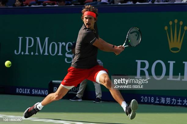 Alexander Zverev of Germany hits a return against Alex de Minaur of Australia during their men's singles third round match at the Shanghai Masters...
