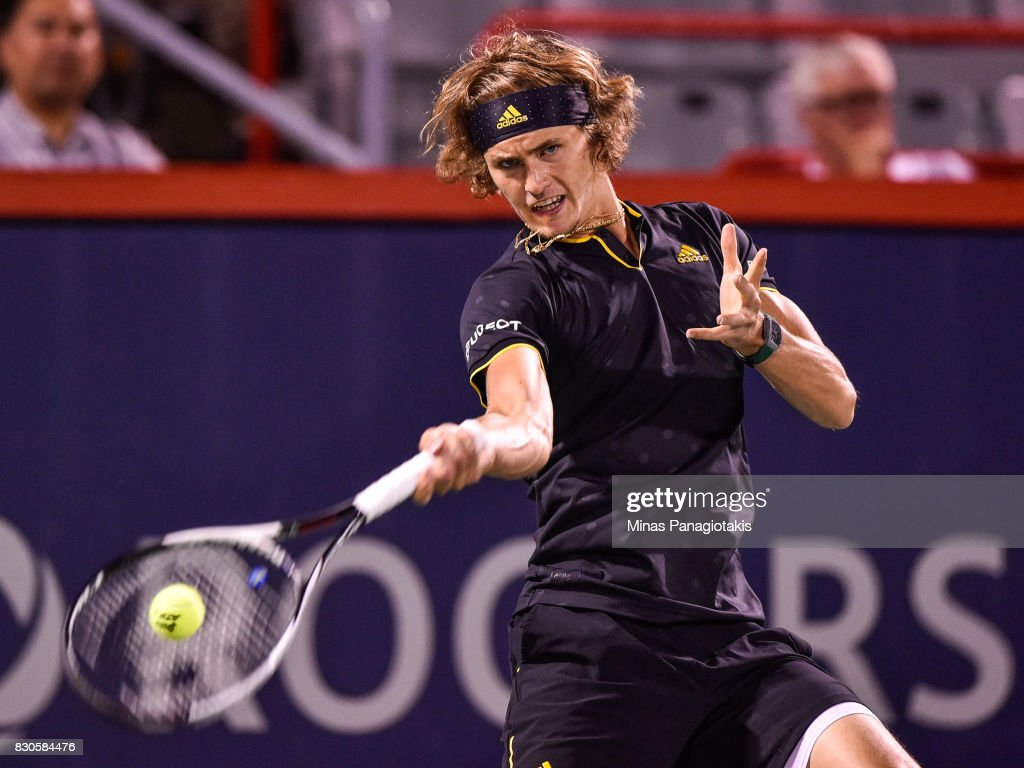 Alexander Zverev of Germany hits a return against Kevin Anderson of South Africa during day eight of the Rogers Cup presented by National Bank at Uniprix Stadium on August 11, 2017 in Montreal, Quebec, Canada.