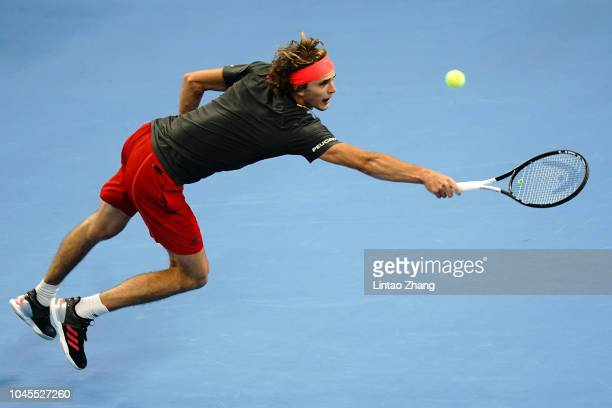Alexander Zverev of Germany hits a return against Malek Jaziri of Tunisia during their Men's Singles 3rd Round match of the 2018 China Open at the...