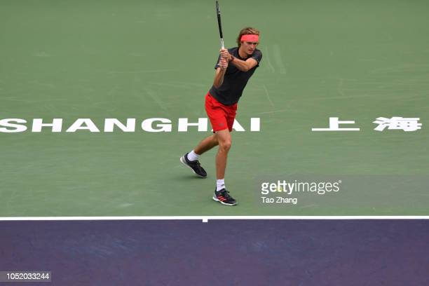 Alexander Zverev of Germany hits a return against Novak Djokovic of Serbia during Men's single Semifinal of the 2018 Rolex Shanghai Masters match on...