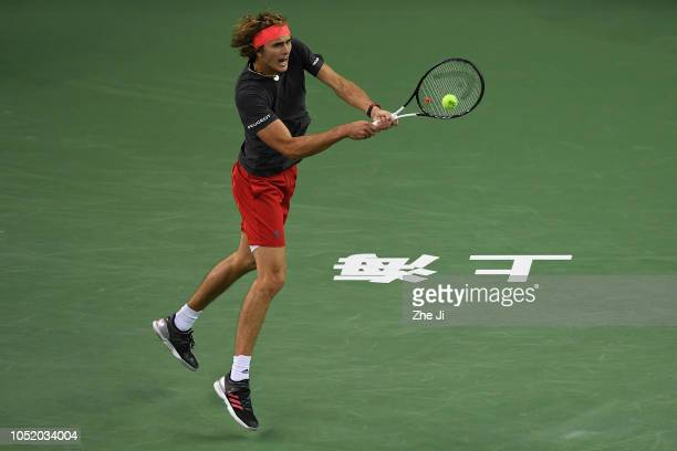 Alexander Zverev of Germany hits a return against Novak Djokovic of Serbia during their Singles Semifinals match of the 2018 Rolex Shanghai Masters...