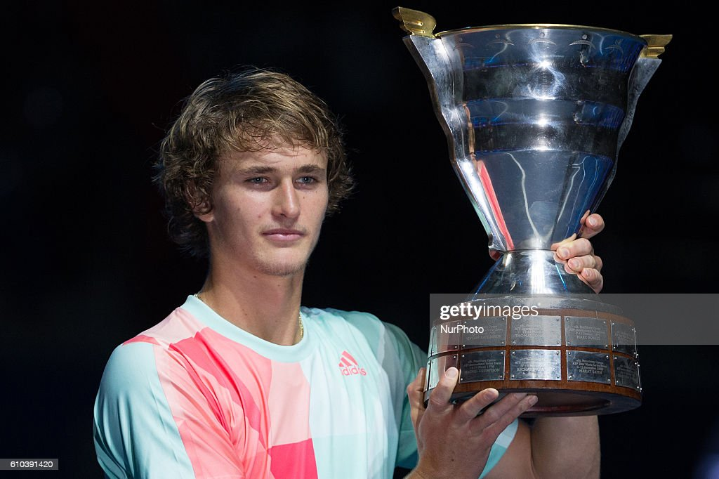 Alexander Zverev of Germany holds his trophy after winning the St. Petersburg Open ATP tennis tournament final match against Stan Wawrinka of Switzerland in St. Petersburg, Russia, September 25, 2016.