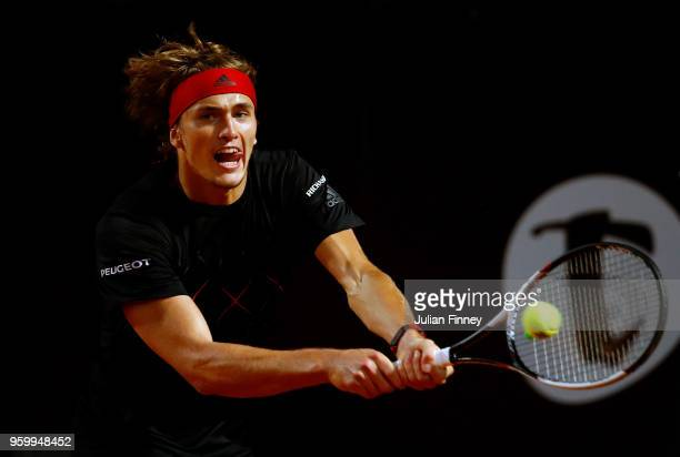 Alexander Zverev of Germany in action against David Goffin of Belgium during day six of the Internazionali BNL d'Italia 2018 tennis at Foro Italico...