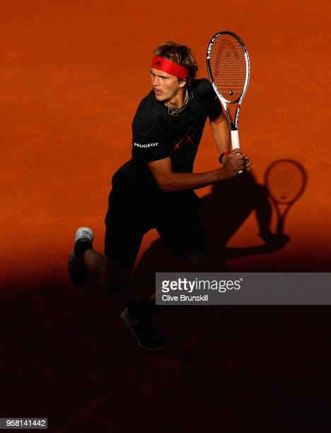 Alexander Zverev of Germany in action against Dominic Thiem of Austria in the mens final during day nine of the Mutua Madrid Open tennis tournament...