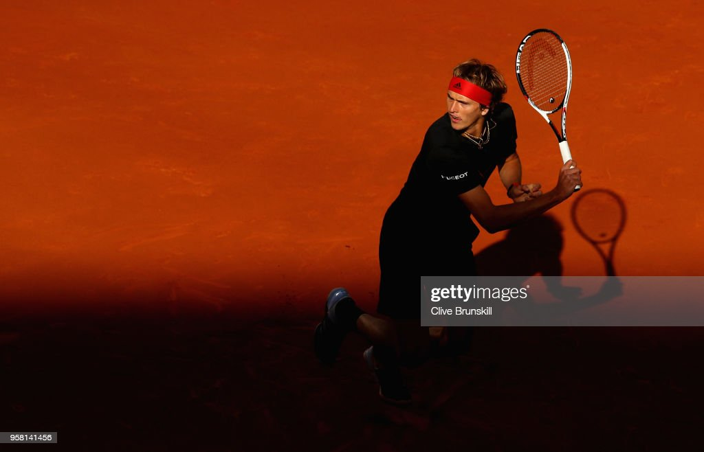 Alexander Zverev of Germany in action against Dominic Thiem of Austria in the mens final during day nine of the Mutua Madrid Open tennis tournament at the Caja Magica on May 13, 2018 in Madrid, Spain.
