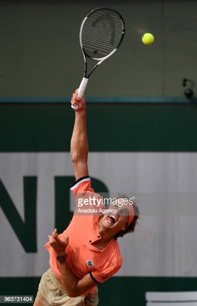 Alexander Zverev of Germany in action against Dusan Lajovic of Serbia during their second round match at the French Open tennis tournament at Roland...