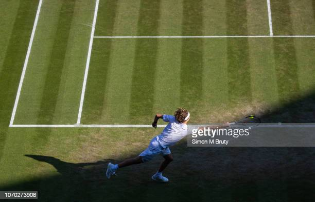 Alexander Zverev of Germany in action against Ernests Gulbis of Lativa during The Wimbledon Lawn Tennis Championship at the All England Lawn Tennis...