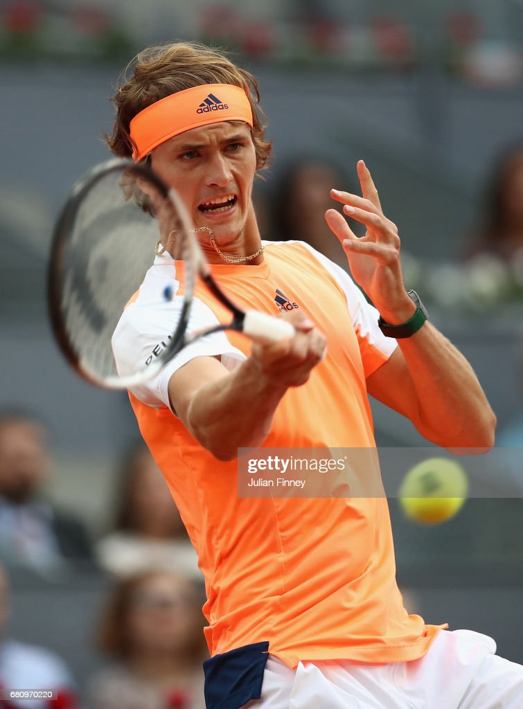 Alexander Zverev of Germany in action against Fernando Verdasco of Spain during day four of the Mutua Madrid Open tennis at La Caja Magica on May 9, 2017 in Madrid, Spain.