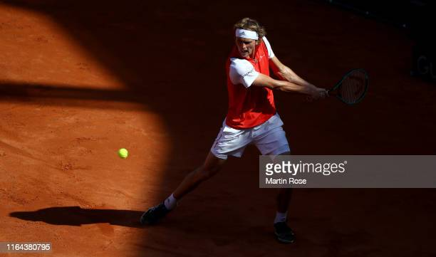 Alexander Zverev of Germany in action against Filip Krajinovic of Serbia during day five of the Hamburg Open 2019 at Rothenbaum on July 26 2019 in...