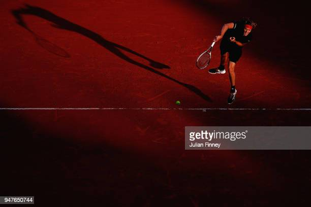 Alexander Zverev of Germany in action against Gilles Muller of Luxembourg during Day Three of the ATP Masters Series Monte Carlo Rolex Masters at...