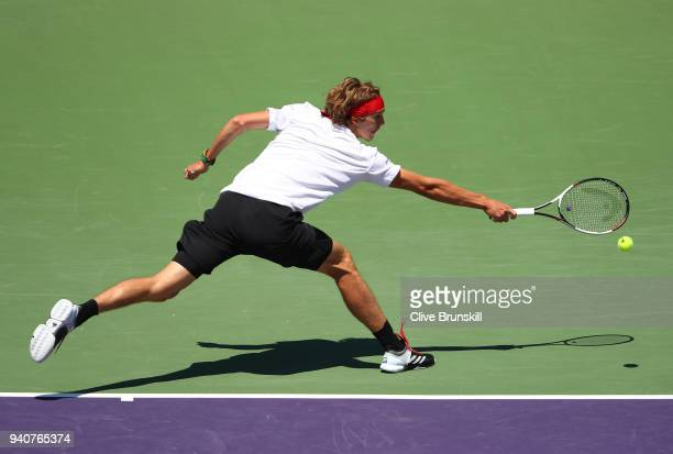 Alexander Zverev of Germany in action against John Isner of the United States in the mens final during the Miami Open Presented by Itau at Crandon...
