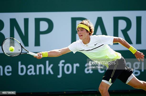 Alexander Zverev of Germany in action against Michael Russell of USA during day two of the BNP Paribas Open tennis at the Indian Wells Tennis Garden...