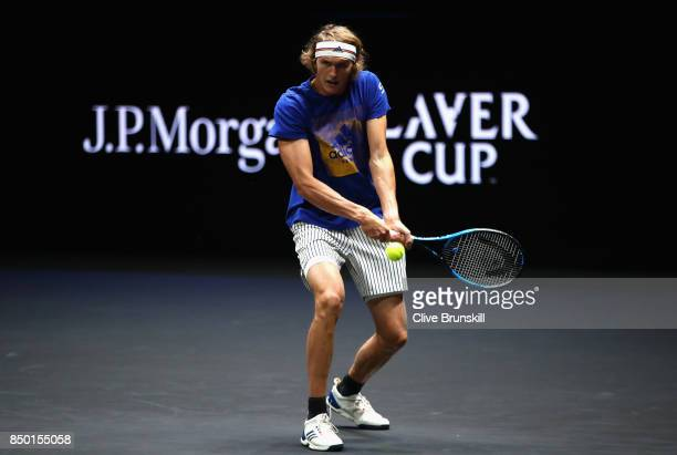 Alexander Zverev of Germany in action during a training session ahead of the Laver Cup on September 20 2017 in Prague Czech Republic The Laver Cup...