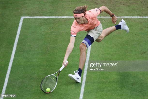 Alexander Zverev of Germany in action during his first round match against Borna Coric of Croatia during day 2 of the Gerry Weber Open at Gerry Weber...