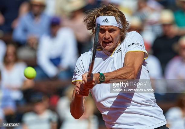 Alexander Zverev of Germany in action during his match against Rafa Nadal of Spain during day three of the Davis Cup World Group Quarter Final match...