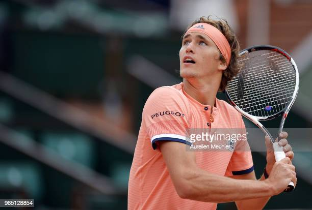 Alexander Zverev of Germany in action during his mens singles third round match against Damir Dzumhur of BosniaHezergovinia during day 6 of the 2018...