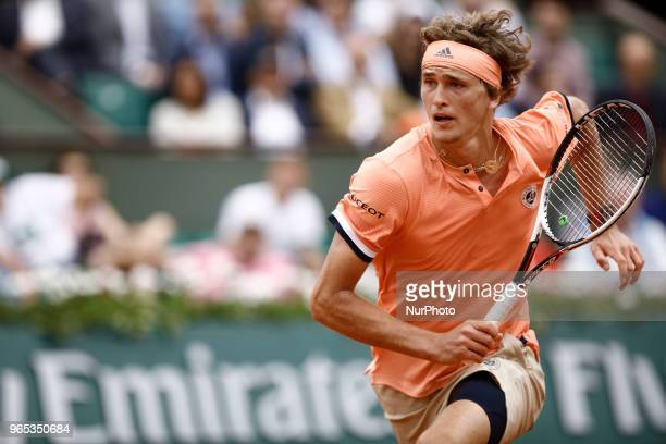 Alexander Zverev of Germany in action during his mens singles third round match against Damir Dzumhur of Bosnia and Herzegovinia during day six of...