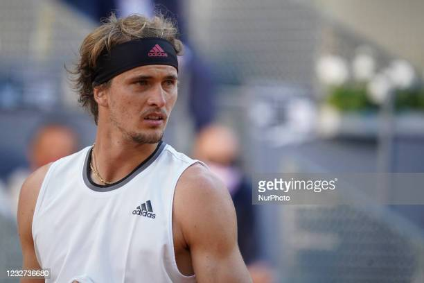 Alexander Zverev of Germany in action during his third round match against Daniel Evans of Great Britain during day eight of the Mutua Madrid Open at...