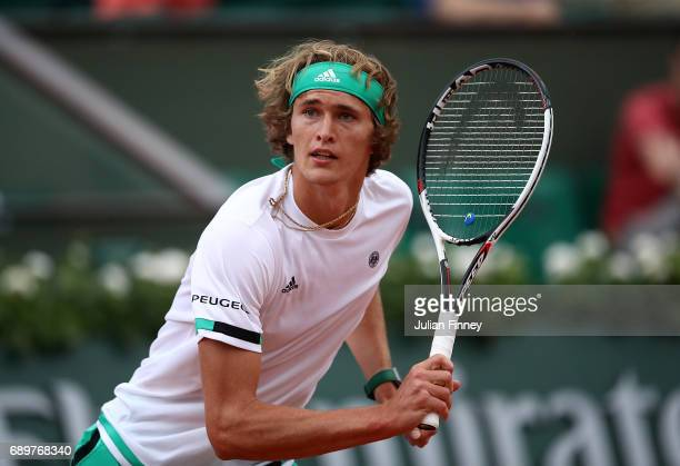 Alexander Zverev of Germany in action during the first round match against Fernando Verdasco of Spain on day two of the 2017 French Open at Roland...
