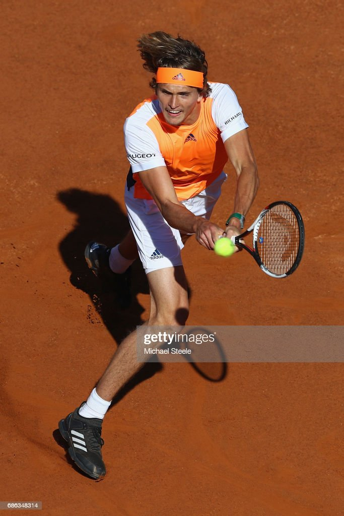 Alexander Zverev of Germany in action during the men's Final against Novak Djokovic of Serbia on Day Eight of the Internazionali BNL d'Italia 2017 at Foro Italico on May 21, 2017 in Rome, Italy.