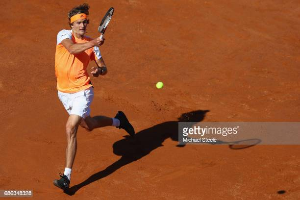 Alexander Zverev of Germany in action during the men's Final against Novak Djokovic of Serbia on Day Eight of the Internazionali BNL d'Italia 2017 at...