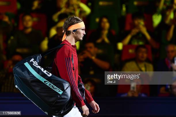 Alexander Zverev of Germany in action during the Men's Singles final match against Daniil Medvedev of Russia on day nine of 2019 Shanghai Rolex...