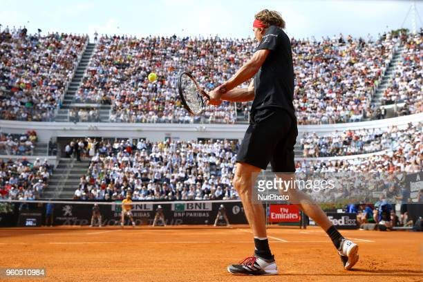 Alexander Zverev of Germany in action during the Mens Singles final match between Rafael Nadal and Alexander Zverev on Day Eight of the The...