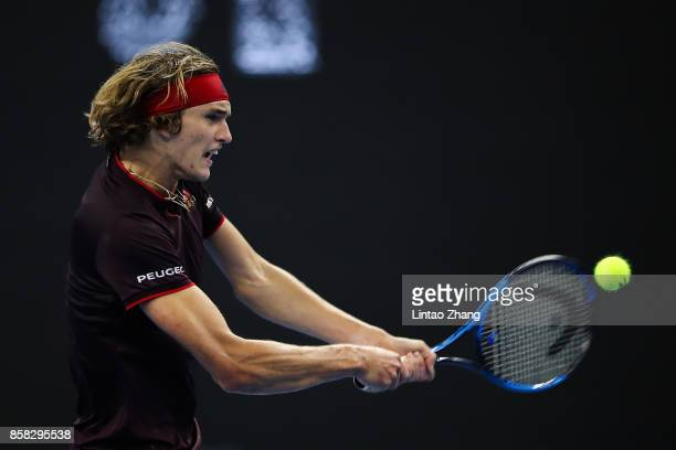 Alexander Zverev of Germany in action during the Men's singles Quarterfinals match against Andrey Rublev of Russia on day seven of 2017 China Open at...