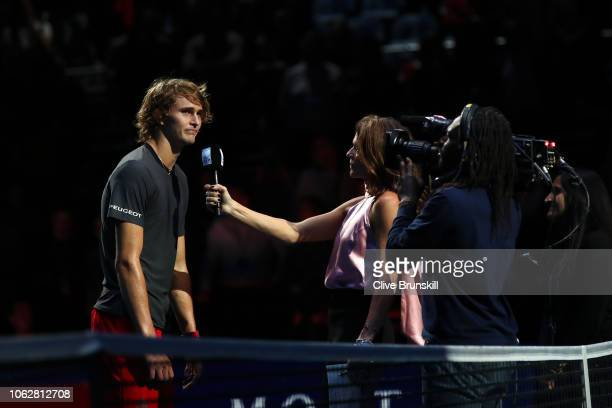 Alexander Zverev of Germany is interviewed by Annabel Croft after he won his semi finals singles match against Roger Federer of Switzerland during...
