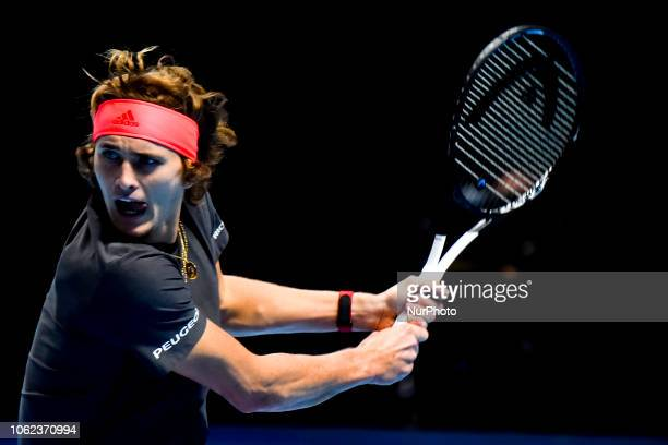 Alexander Zverev of Germany is pictured in action during his round robin match against John Isner of the US during Day Six of the Nitto ATP Finals at...