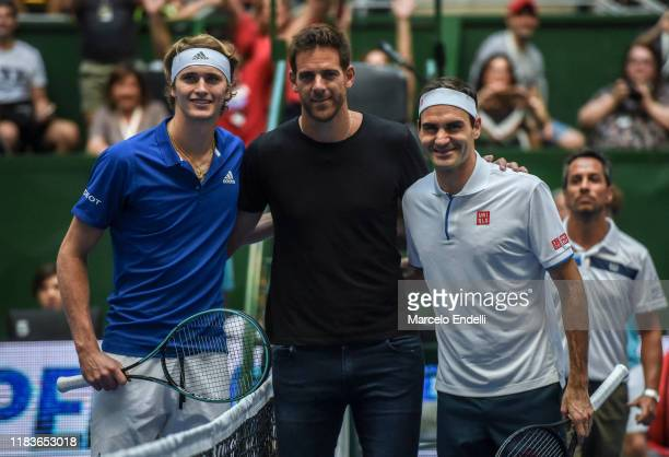 Alexander Zverev of Germany Juan Martin del Potro of Argentina and Roger Federer of Switzerland pose prior to an exhibition game between Alexander...