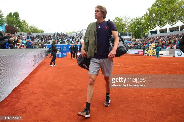 Alexander Zverev of Germany leaves the center court after loosing his quater final match againt Cristian Garin of Chile on day 7 of the BMW Open at...