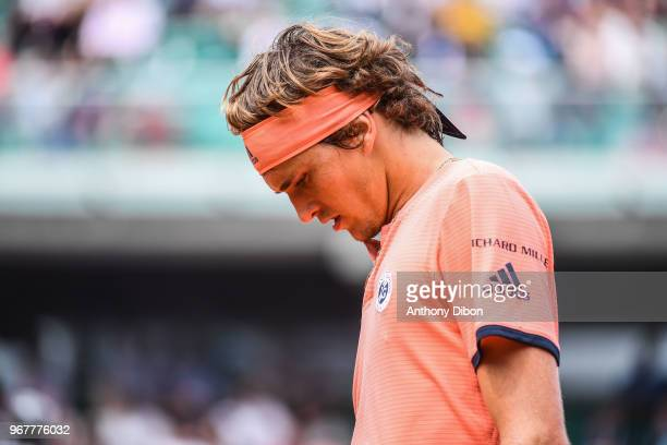 Alexander Zverev of Germany looks dejected during Day 10 for the French Open 2018 on June 5 2018 in Paris France