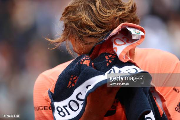 Alexander Zverev of Germany looks dejected during the mens singles quarter finals match against Dominic Thiem of Austria during day ten of the 2018...